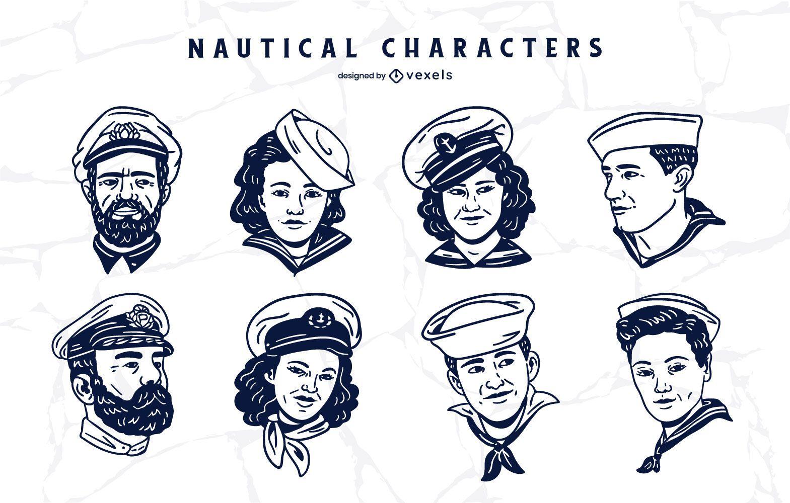 Conjunto de caracteres de gente náutica