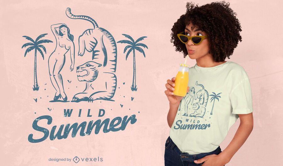 Diseño de camiseta de verano salvaje.