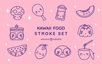 Food kawaii stroke set