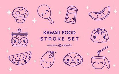 Food kawaii stroke set