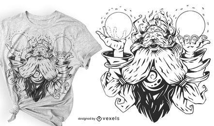 Diseño de camiseta de mago mágico.