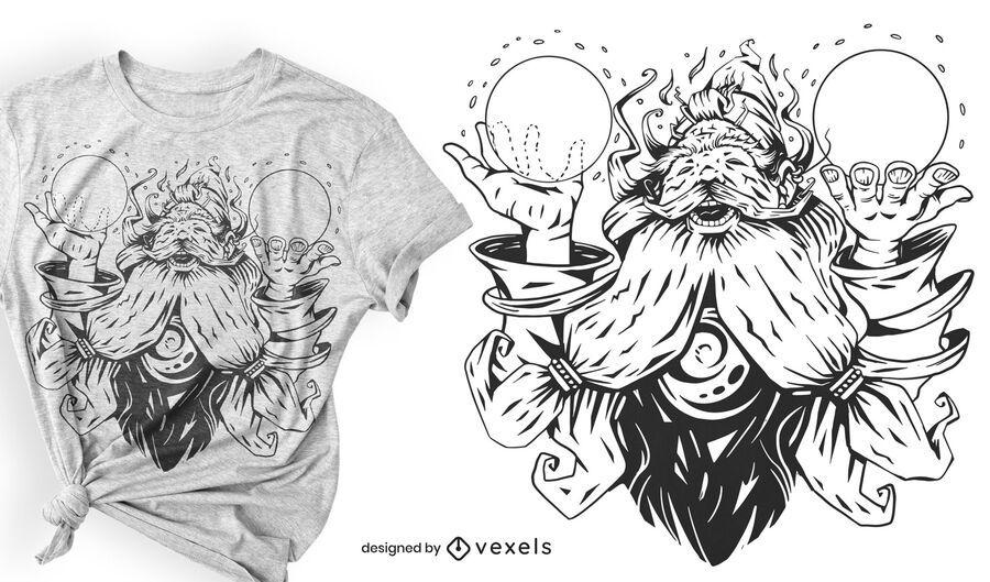 Magic wizard t-shirt design