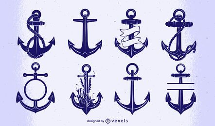 Vintage anchor cut-out set
