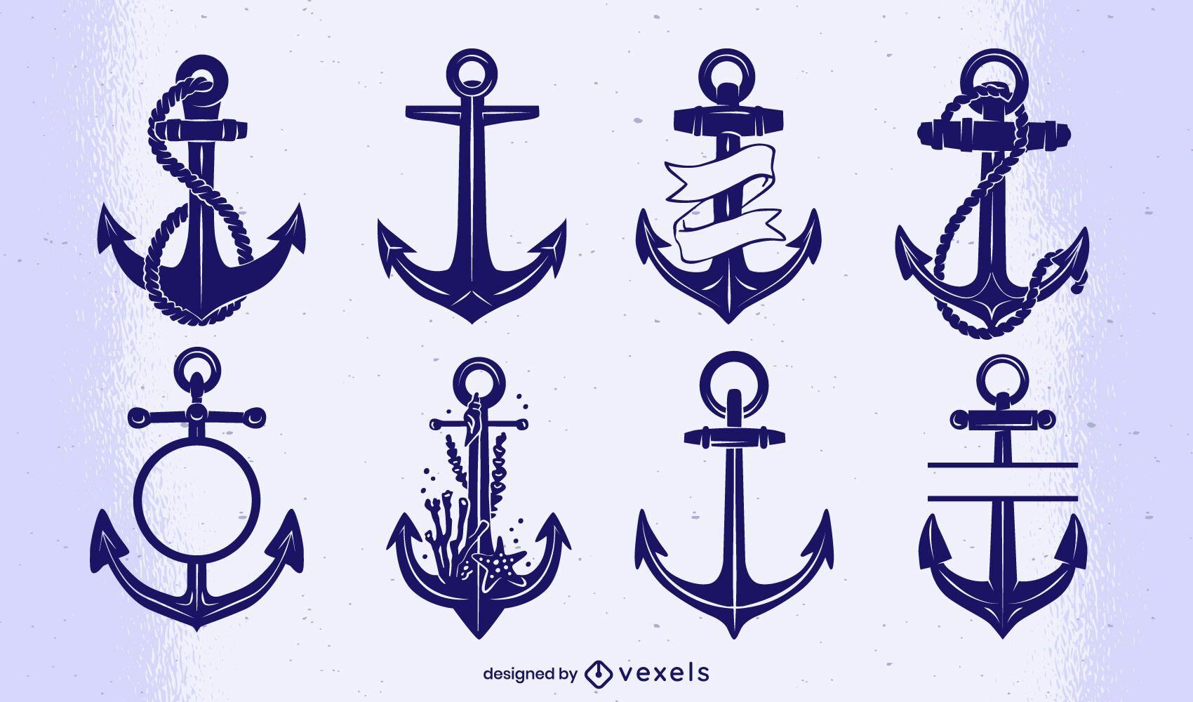 Vintage anchor cut-out set
