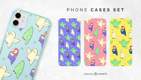 Kawaii parrots phone case set