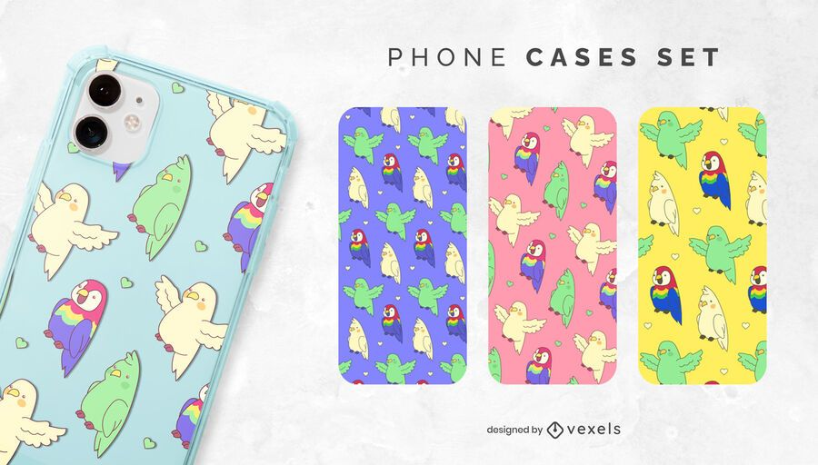 Kawaii parrots phone case set