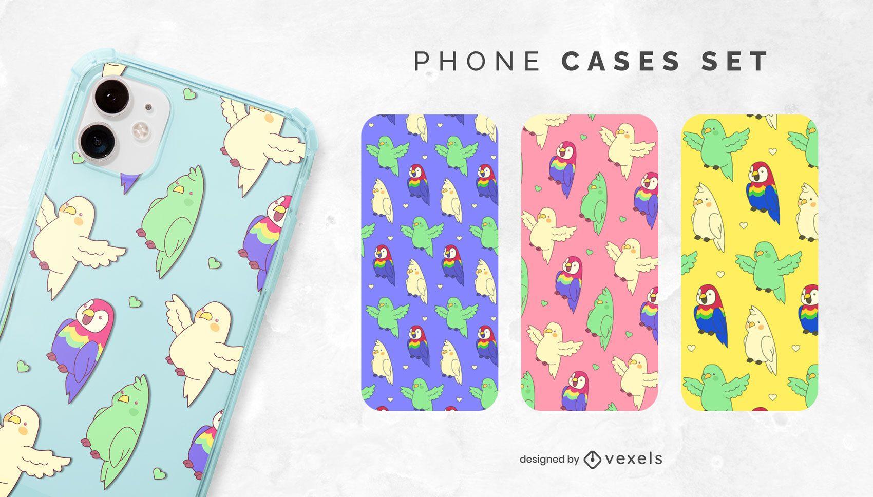 Conjunto de capa de telefone papagaios Kawaii