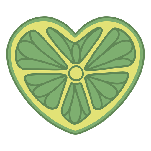 Heart shaped lime flat Transparent PNG