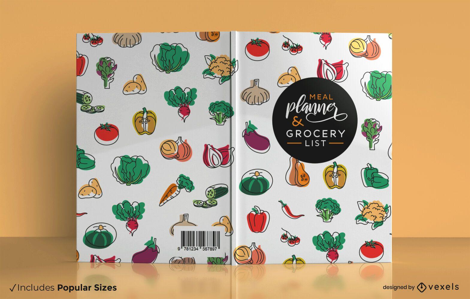 Diseño de portada de libro de planificador de comidas