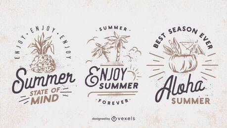 Sommer Retro Abzeichen Set
