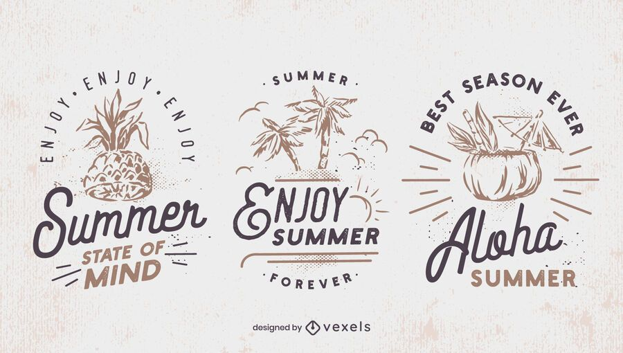 Summer retro badge set