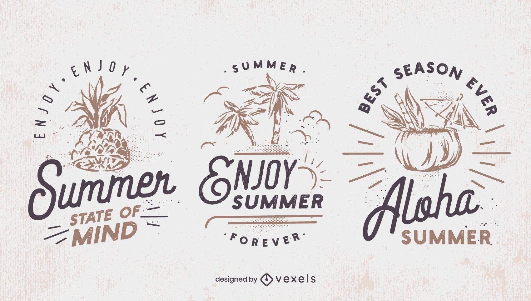 Summer retro badge set