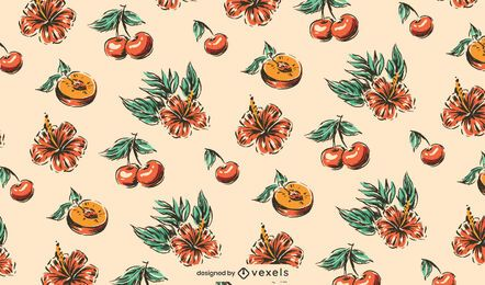 Peach hibiscus cherry pattern design
