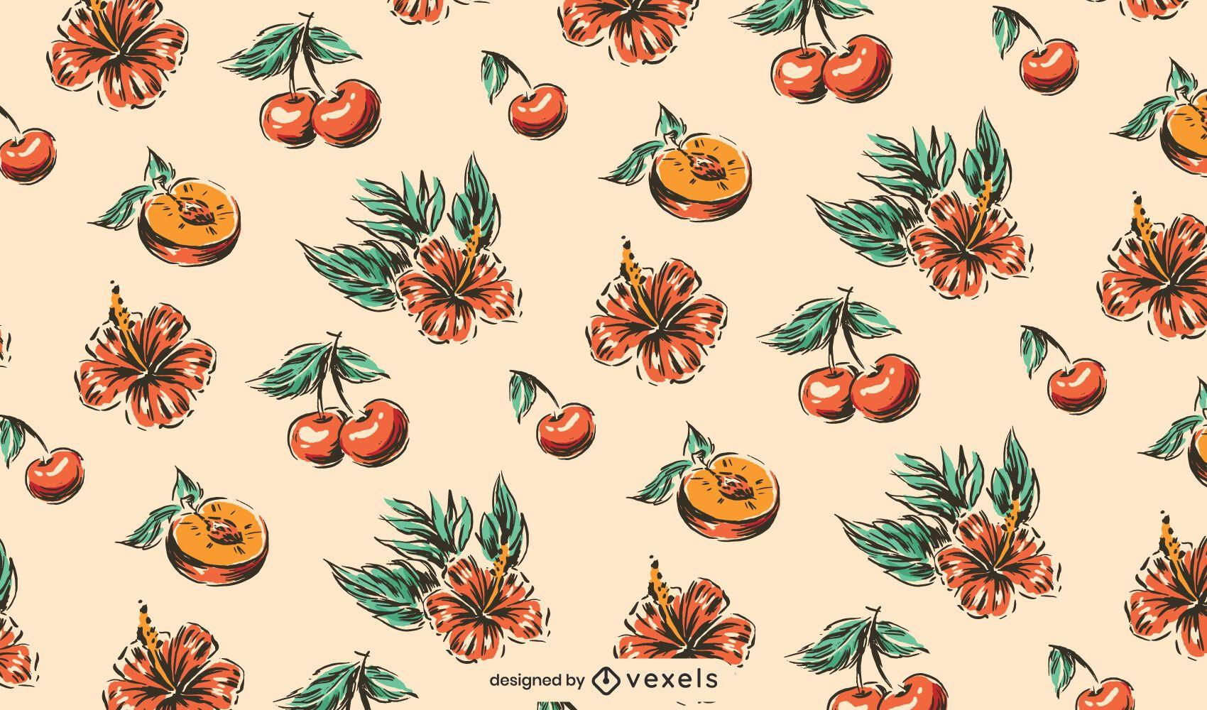 Peach hibiscus cherry pattern design