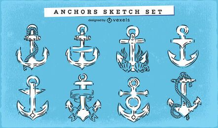 Anchor doodle nautical set