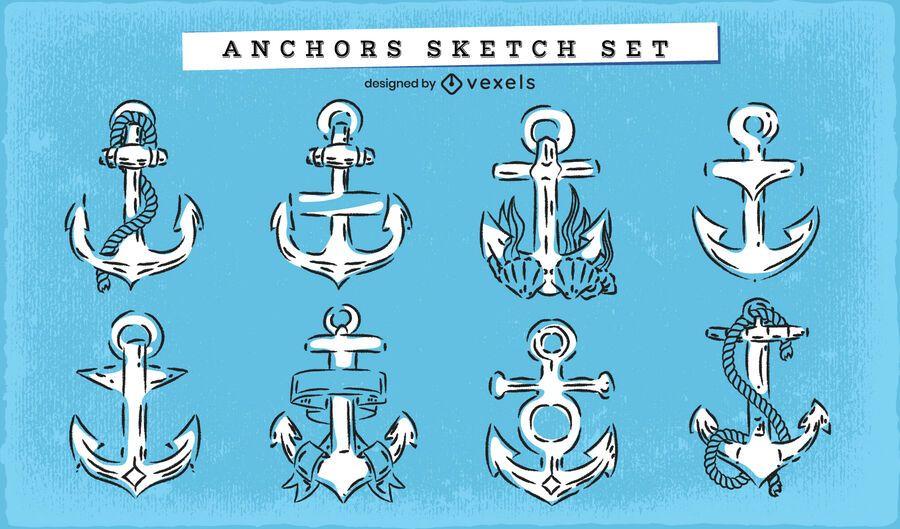 Anchor doodle nautical set