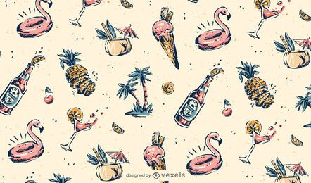 Desenho de padrão vintage havaí