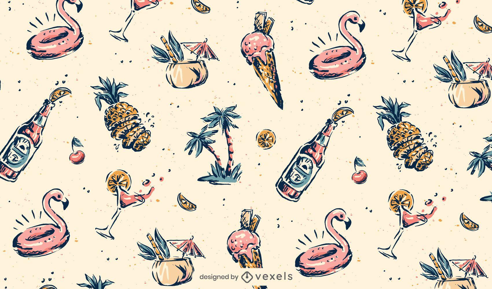 Diseño de patrón de hawaii vintage