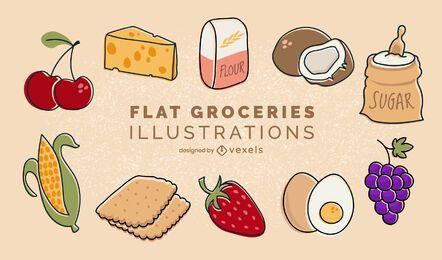 Conjunto de ilustraciones de comestibles planos