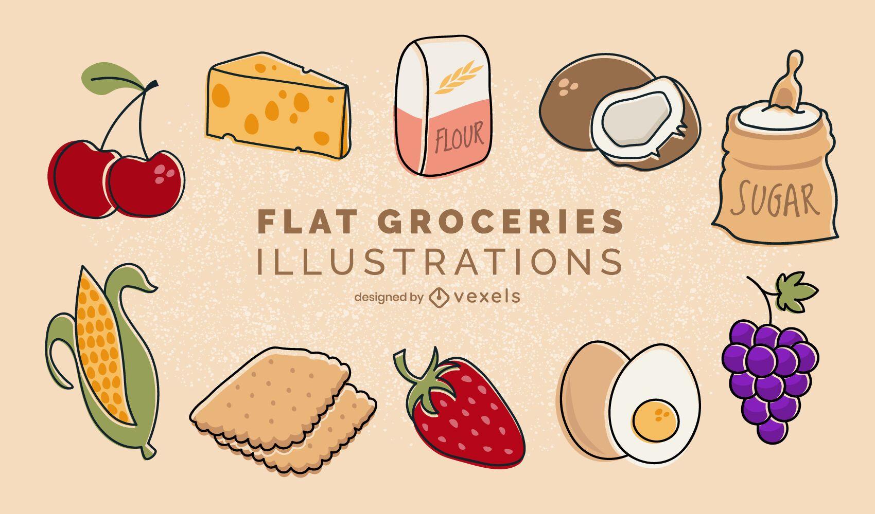 Flat groceries illustrations set