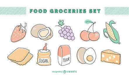 Conjunto de abarrotes de alimentos