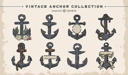 Vintage anchor illustration set