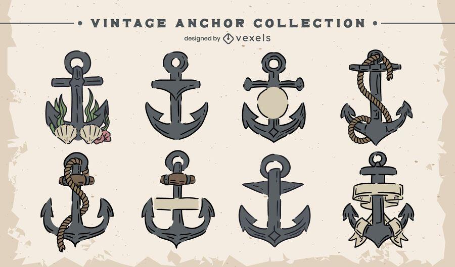 Vintage anchor illustration set