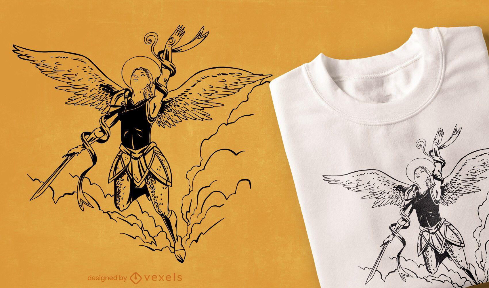 Diseño de camiseta Flying Angel