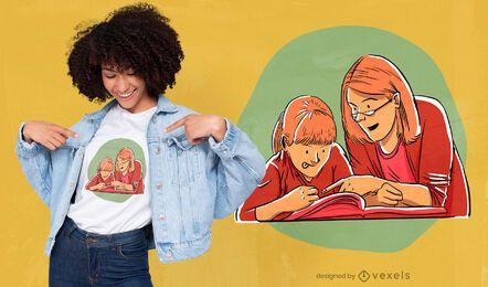 Diseño de camiseta de educación en el hogar.