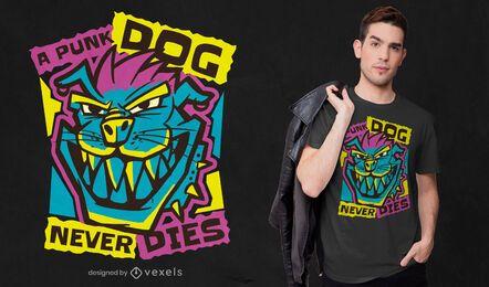 Un diseño de camiseta de perro punk.