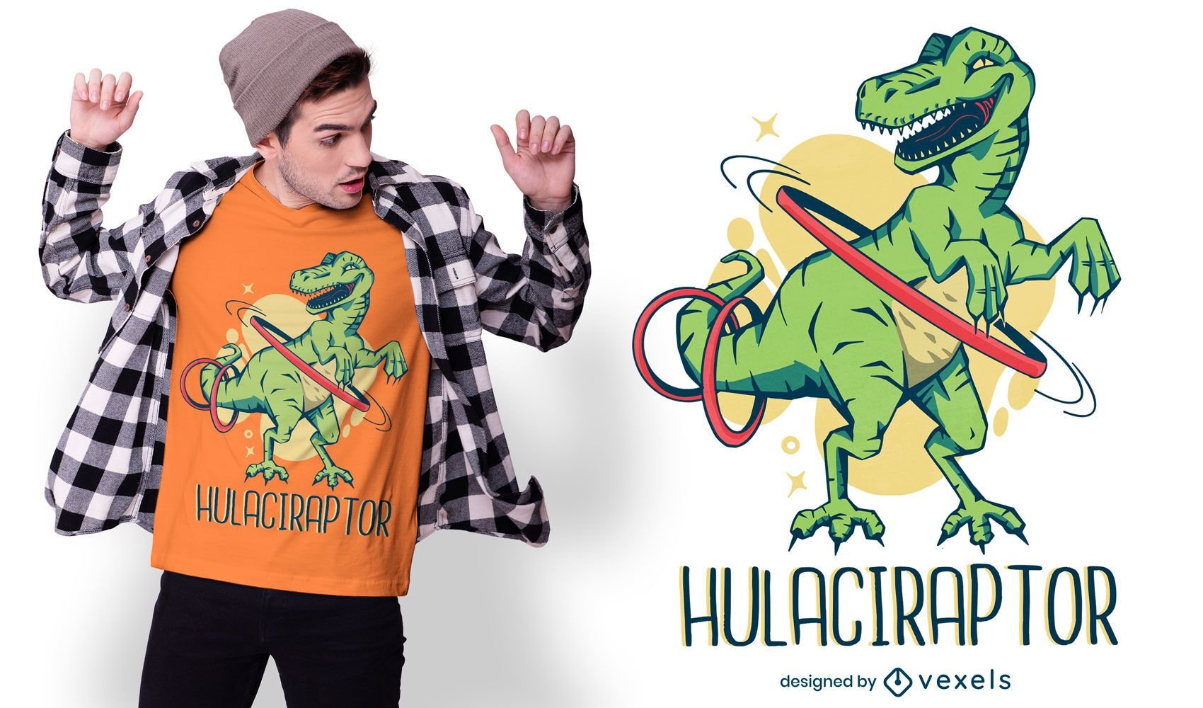 Hula velociraptor t-shirt design
