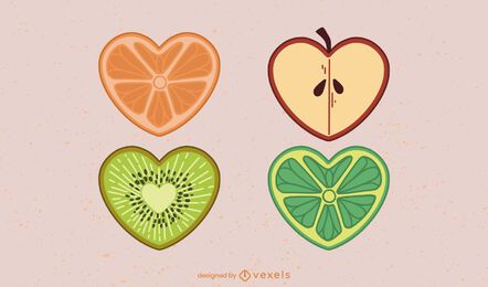Heart shaped fruit set