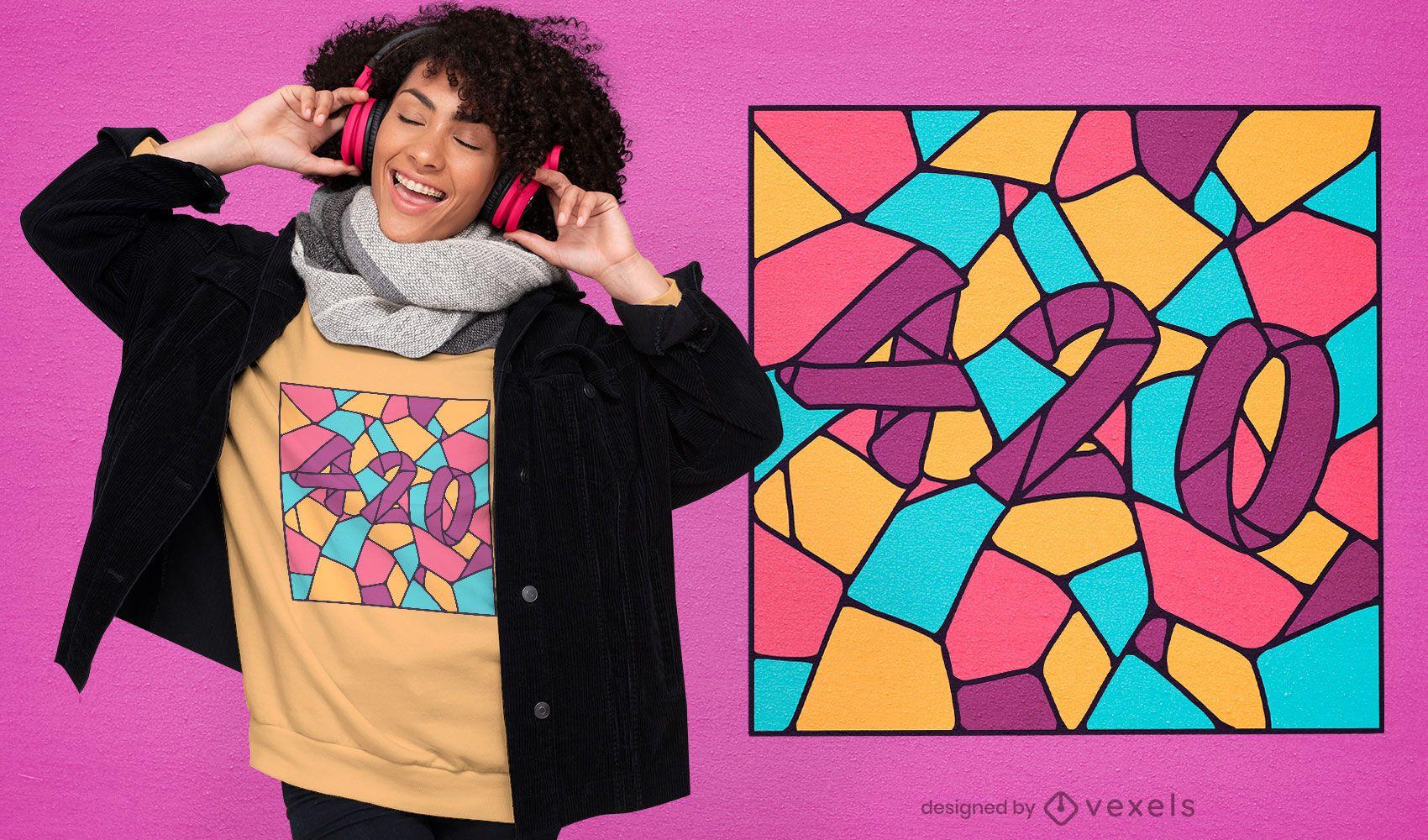 420 diseño de camiseta de vidrieras