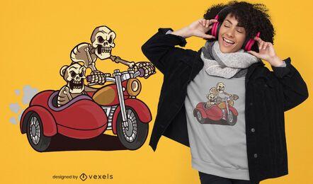 Diseño de camiseta de esqueletos de sidecar