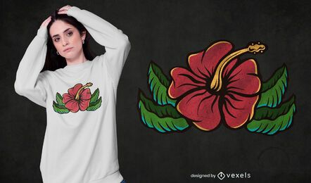 Design de camiseta de hibisco