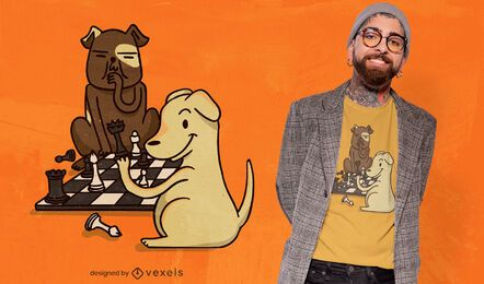 Diseño de camiseta de perros de ajedrez.