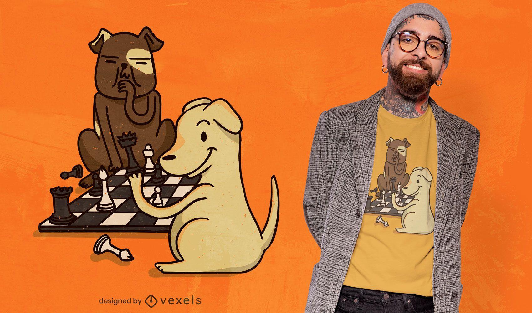 Dise?o de camiseta de perros de ajedrez.