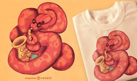 Diseño de camiseta de serpiente de saxofón.