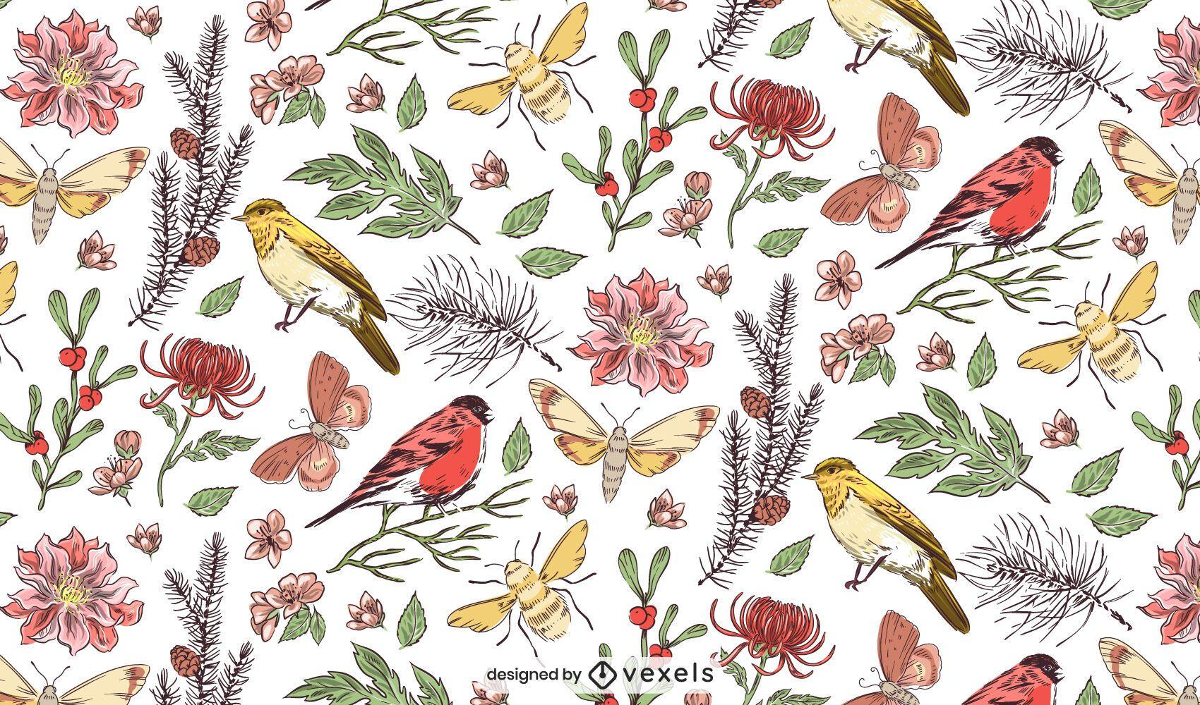Desenho de padrão botânico
