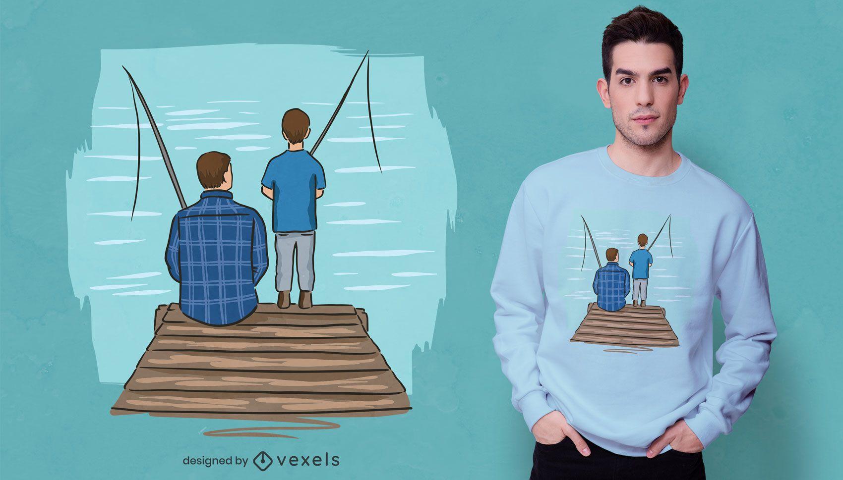 Diseño de camiseta de papá pescador