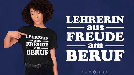Design de t-shirt com citações do professor alemão