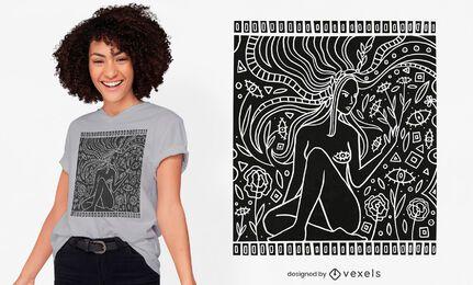 Desenho de t-shirt de mulher da natureza