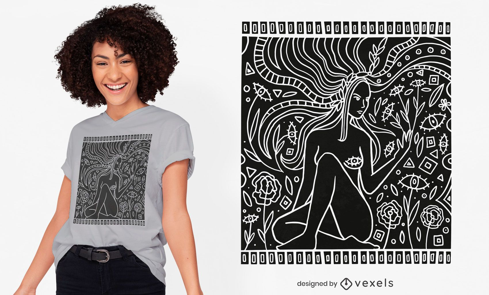 Nature woman t-shirt design