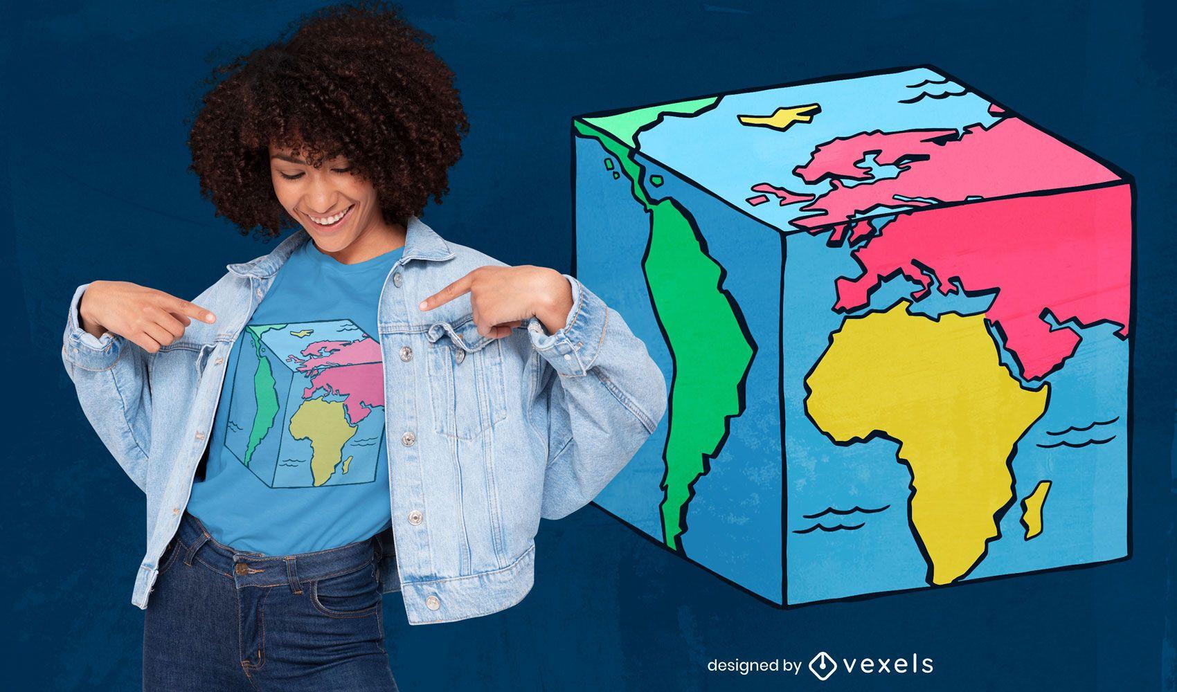 Diseño de camiseta de cubo de mapa mundial