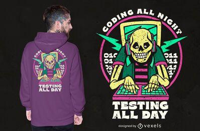 Design de t-shirt de esqueleto codificado
