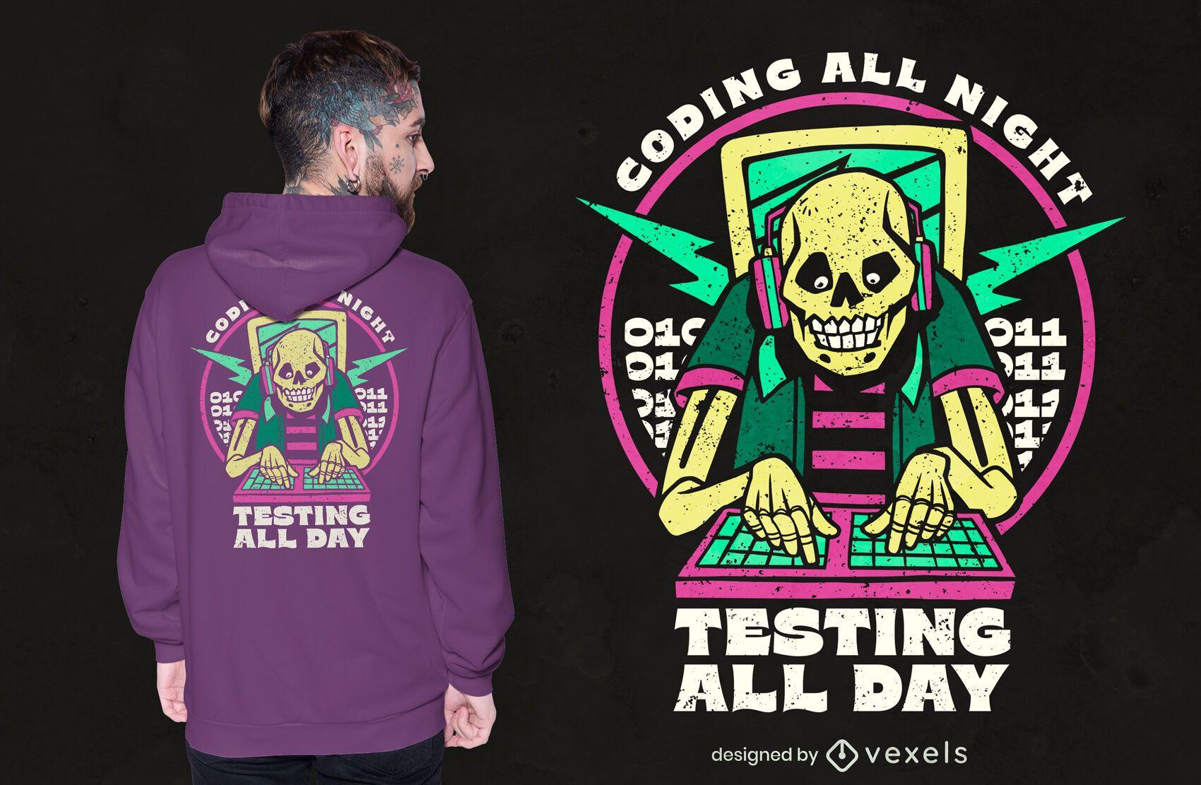 Diseño de camiseta de esqueleto de codificación
