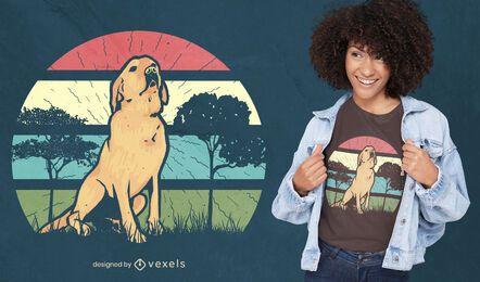 Design retro de t-shirt do Sunset Retriever