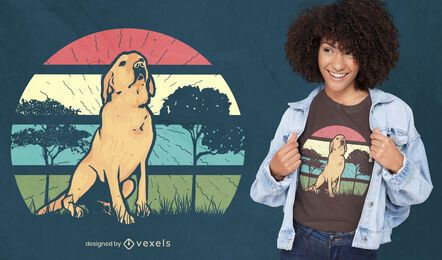 Retro sunset retriever t-shirt design