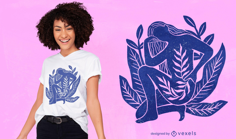 Woman nature t-shirt design
