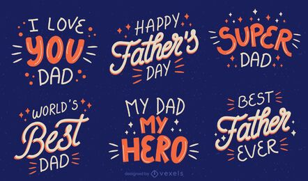 Fathers day lettering set
